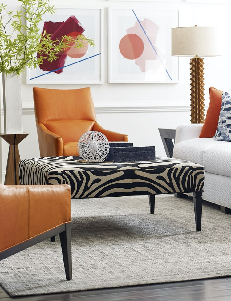 colorful animal print furniture in living room