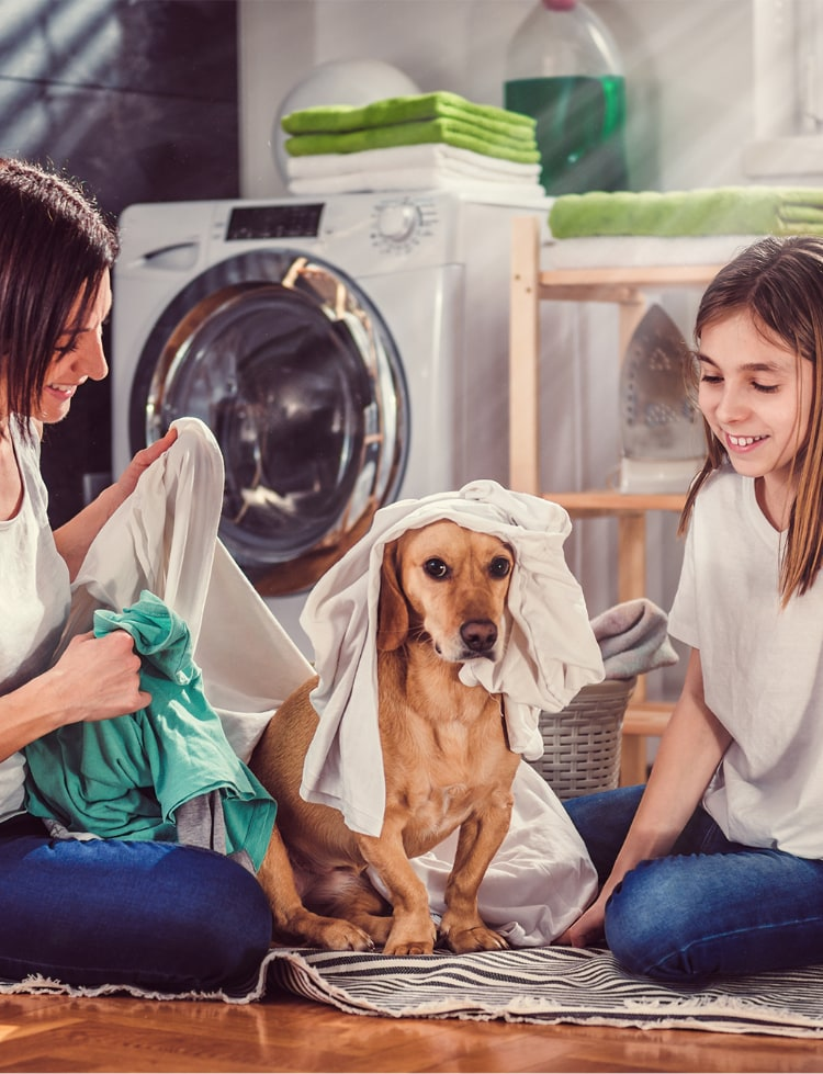 mother and child folding laundry with dog