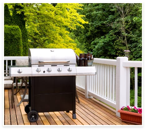 backyard porch and grill